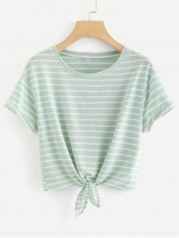Casual Striped Regular Fit Round Neck Short Sleeve Green Crop Length Knot Front Cuffed Sleeve Striped Tee