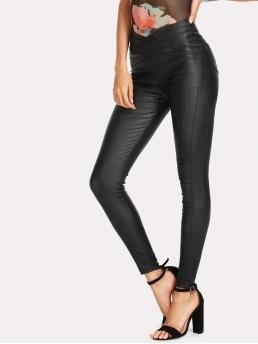 Black Natural Waist Ripped Skinny Solid Jeans Cheap