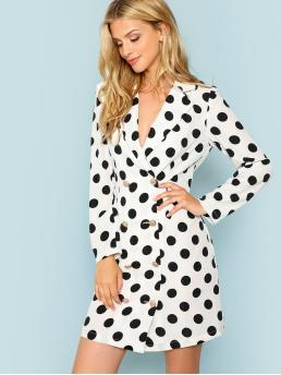 Elegant Dress Polka Dot Regular Fit Long Sleeve Double Breasted Black and White Polka Dot Double Breasted Placket Wrap Dress