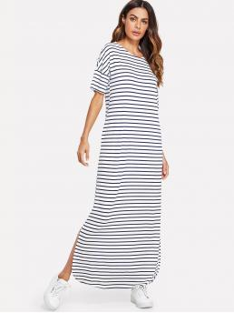Ladies White Striped Pocket Round Neck Side Split Tunic Dress