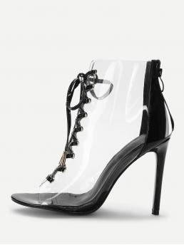 Glamorous Point Toe Black Stiletto Lace Up Clear Stiletto Heels