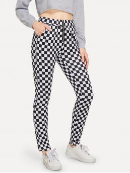 Casual Plaid Straight Leg Skinny Zipper Fly Mid Waist Black and White Cropped Length Checkered Zip Decoration Pants