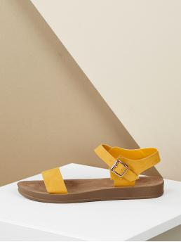 Casual Open Toe Plain Ankle Strap Yellow Single Band Buckled Strap Flatform Sandals