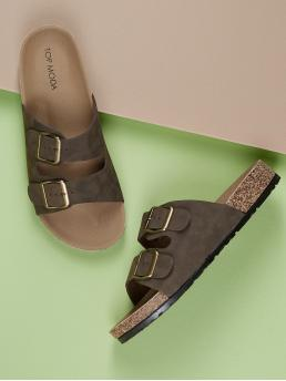 Comfort Open Toe Brown Double Buckle Slide On Footbed Sandals
