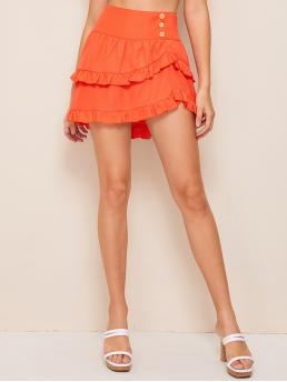 Boho Asymmetrical Plain High Waist Orange and Bright Mini Length Neon Orange Wide Waistband Asymmetrical Skirt