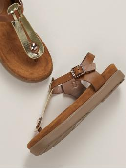 Boho Toe Post Flatform Ankle Strap Bronze Metallic T-Strap Buckled Ankle Footbed Sandals