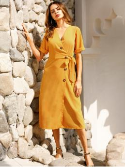 Casual Shirt Plain Loose V neck Short Sleeve High Waist Yellow Midi Length Button Through Tie Front Dress with Belt