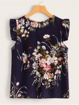 Cute Floral Top Regular Fit Round Neck Pullovers Navy Regular Length Ruffle Trim Botanical Print Top