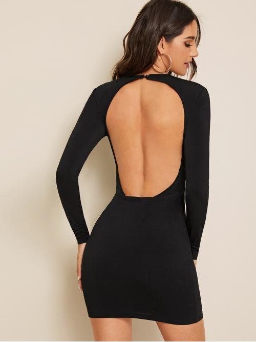 Sexy Bodycon Plain Pencil Slim Fit Round Neck Long Sleeve Regular Sleeve Natural Black Mini Length Solid Backless Pencil Dress