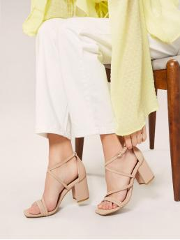 Apricot Strappy Sandals Mid Heel Chunky Square Strappy Block Heel Sandals Trending now