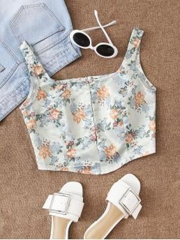 Boho Tank Floral and All Over Print Regular Fit Square Neck Multicolor Crop Length Hook And Eye Floral Satin Tank Top