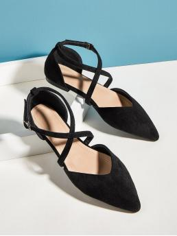 Black Point Toe Suede Plain Cross Strap Flats Sale