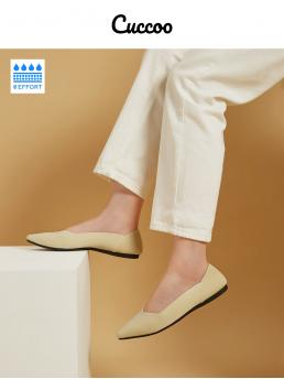 Trending now Yellow Ballet Point Toe Fabric Cuccoo - 0 Effort Pointed Flats