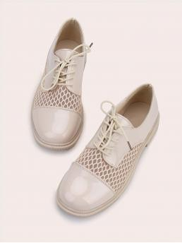 Beige Oxfords Round Toe Mesh Patent Leather Fishnet Oxford Shoes Sale