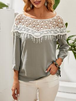 Womens Three Quarter Length Sleeve Top Frill Cotton Lace Crochet Contrast Blouse
