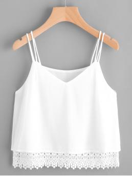 Casual Cami Plain Regular Fit Spaghetti Strap and V neck White V-cut Crochet Hem Cami Top