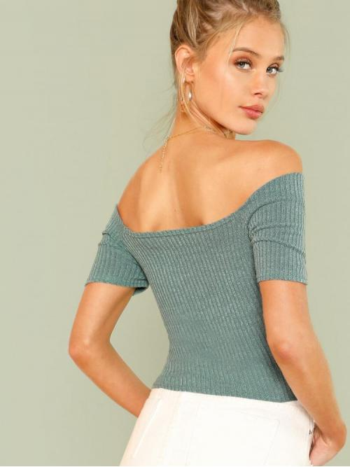 Trending now Short Sleeve Plain Mint Green off the Shoulder Ribbed Off-the-shoulder Crisscross Top