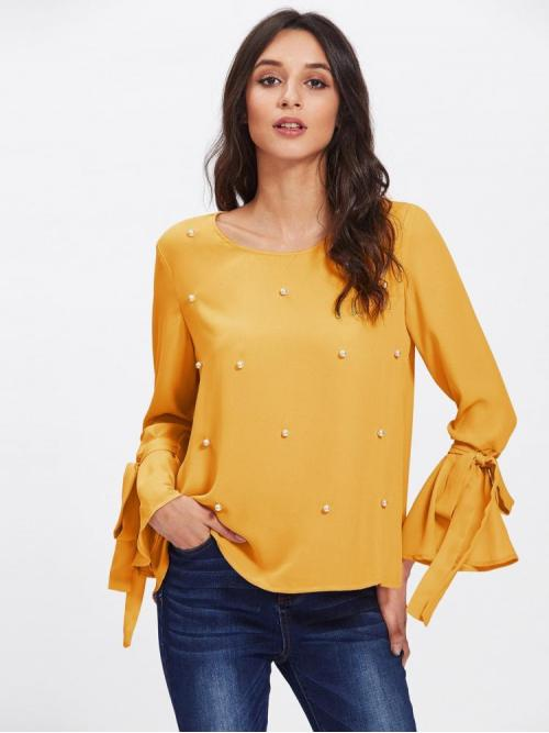 Affordable Long Sleeve Top Beaded Polyester Pearls Bell Sleeve Top