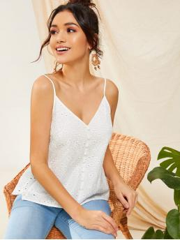 Boho Cami Plain Regular Fit Spaghetti Strap and V neck White Regular Length Button Front Schiffy Cami Top with Lining