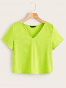 Casual Plain Regular Fit V neck Short Sleeve Roll Up Sleeve Pullovers Green and Bright Crop Length Neon Lime V-cut Rib-Knit Tee