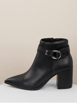 Comfort Other Point Toe Side zipper Black High Heel Chunky Side Buckle Pointed Toe Block Heel Ankle Booties