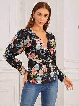 Boho Floral Wrap Shirt Regular Fit V neck Long Sleeve Regular Sleeve Placket Multicolor Regular Length Floral Wrap Belted Top