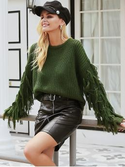 Affordable Long Sleeve Pullovers Fringe Acrylic Trim Sweater