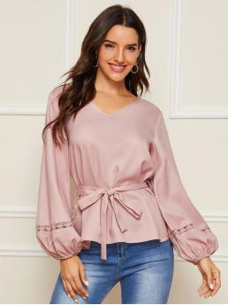 Elegant Plain Top Regular Fit V neck Long Sleeve Bishop Sleeve Pullovers Pink and Pastel Regular Length Lace Insert Lantern Sleeve Self Belted Top with Belt