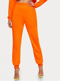 Casual Plain Sweatpant Regular Elastic Waist High Waist Orange and Bright Cropped Length Neon Orange Solid Joggers