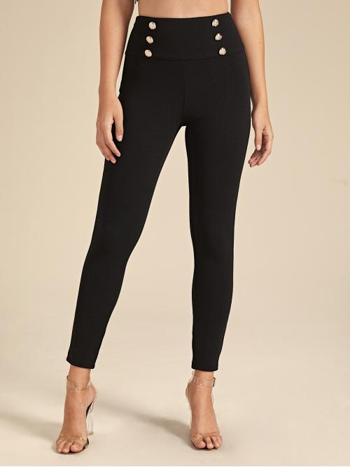 Elegant Skinny Plain Skinny Zipper Fly High Waist Black Cropped Length Double Button Detail Wide Band Waist Skinny Pants