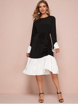 Casual A Line Colorblock Flounce Regular Fit Round Neck Long Sleeve Flounce Sleeve Natural Black and White Long Length Color-Block Belted Ruched Flounce Hem Dress with Belt