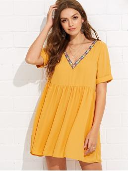 Yellow Plain Embroidery V Neck Tape Neck Cuffed Dress Affordable