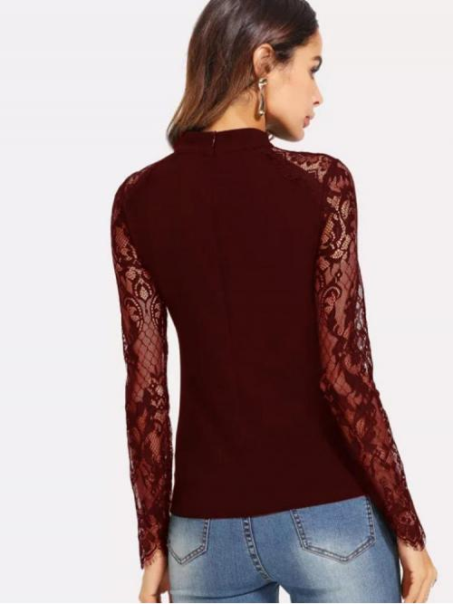 Long Sleeve Top Contrast Lace Mesh Lace Sleeve Fitted Top Cheap