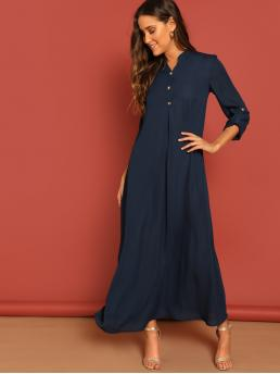 Modest Plain Shift V neck Long Sleeve Natural Navy Long Length Rolled Tab Sleeve Button Front Maxi Dress