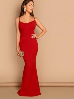 Glamorous Cami Plain Mermaid Cowl Neck Sleeveless Red Maxi Length Cowl Neck Criss Cross Back Draped Gown with Lining