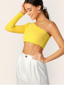 Sexy Plain Slim Fit One Shoulder Long Sleeve Pullovers Yellow Crop Length One Shoulder Lettuce Edge Crop Tee