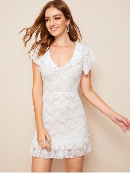 Romantic A Line Plain Flared Regular Fit V neck Sleeveless Natural White Short Length Ruffle Hem Belted Lace Dress with Belt with Lining