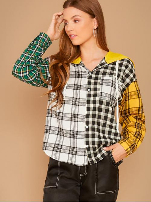 Preppy Plaid and Colorblock Shirt Regular Fit Hooded Long Sleeve Regular Sleeve Placket Multicolor Regular Length Cut-and-sew Plaid Print Pocket Patched Hooded Shirt