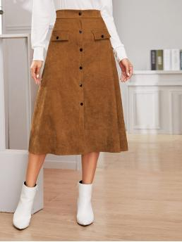 Casual A Line Plain High Waist Brown Long/Full Length Button Front Midi Corduroy Skirt