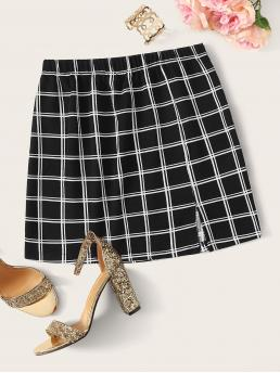 Casual Straight Plaid Mid Waist Black Mini Length Plaid Print Split Front Skirt
