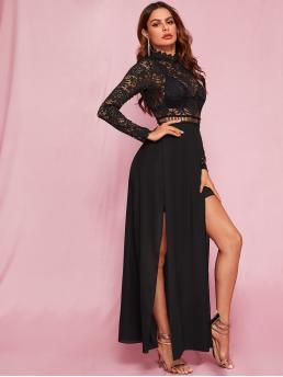 Glamorous and Sexy Fit and Flare Floral Slit Regular Fit Stand Collar Long Sleeve Regular Sleeve High Waist Black Maxi Length Zip Back Split Thigh Sheer Lace Dress Without Bra with Lining