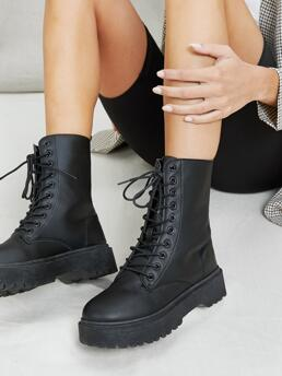 Black Combat Boots Mid Heel Chunky Lace Front Heavy Lug Sole Combat Boots Trending now