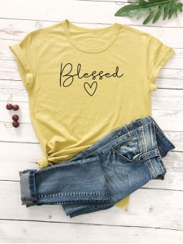 Casual Letter and Heart Regular Fit Round Neck Short Sleeve Regular Sleeve Pullovers Yellow Regular Length Letter Graphic Round Neck Tee