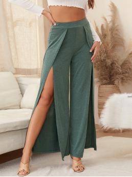 Ladies Green High Waist Split Thigh Wide Leg Overlap Front Pants