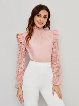 Womens Long Sleeve Top Shirred Polyester Embroidered Mesh Ruffle Trim Blouse