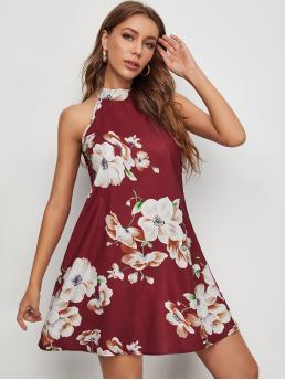 Maroon Floral Tie Back Halter Dress Affordable