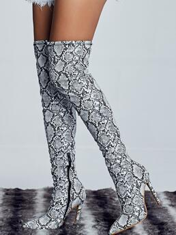 White Pu Leather Rubber Polyester Snakeskin Print Point Toe Boots Pretty