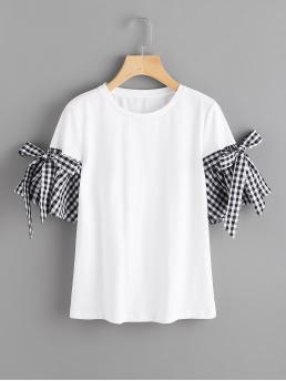 Cute Gingham and Colorblock Regular Fit Round Neck Short Sleeve Flounce Sleeve White Bow Detail Gingham Bell Cuff T-shirt