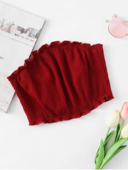 Sexy Plain Slim Fit Strapless Burgundy Crop Length Frill Trim Ribbed Bandeau Top