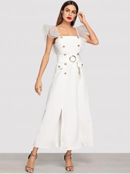 Elegant A Line Plain Regular Fit Square Neck Natural White Long Length Tiered Mesh Ruffle O-Ring Belt Prom Dress with Belt